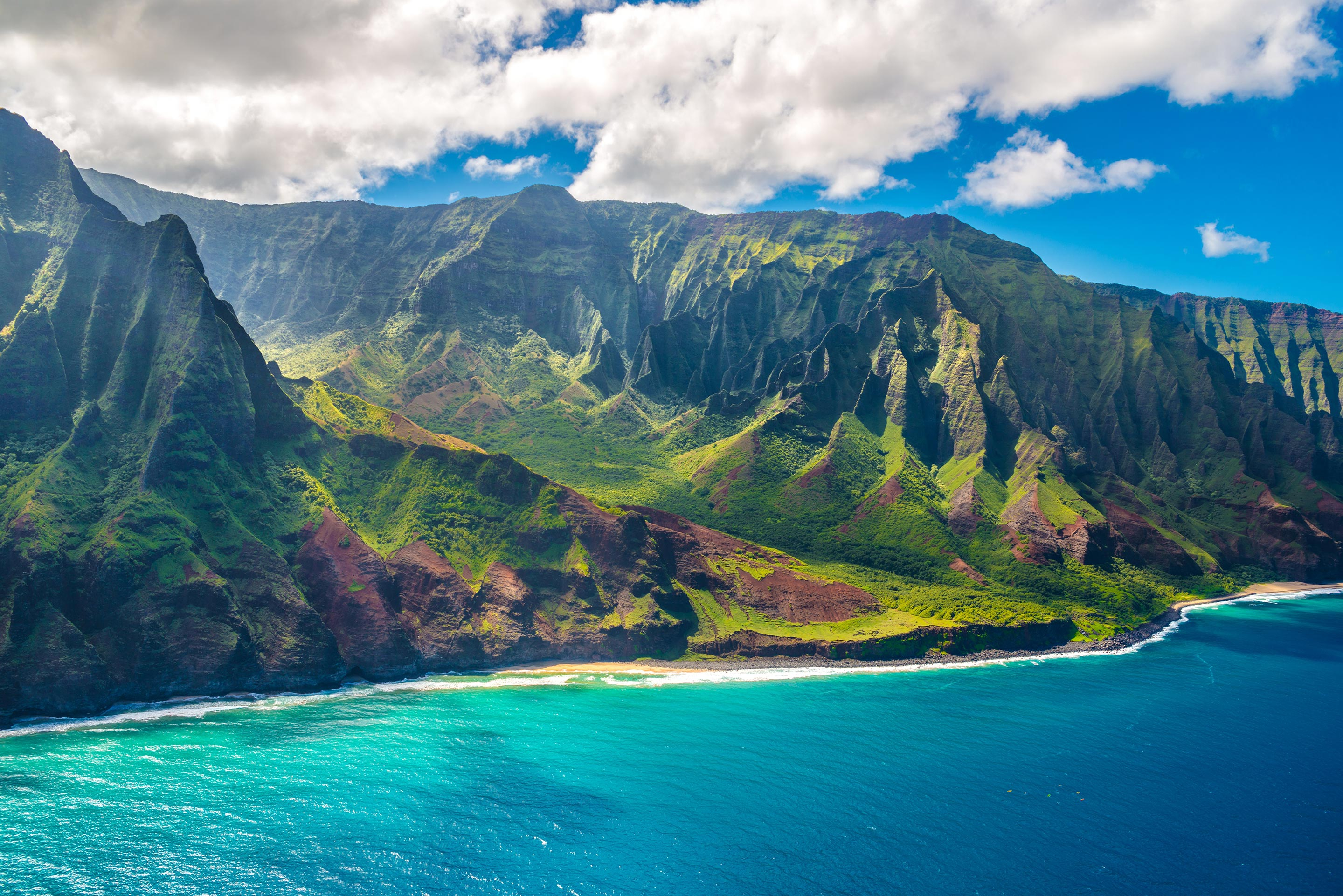 Beach with Mountains in Hawaii